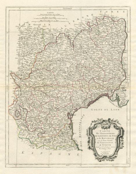 """Associate Product """"Gouvernements de Languedoc, de Foix et de Roussillon…"""" SANTINI / BONNE 1784 map"""