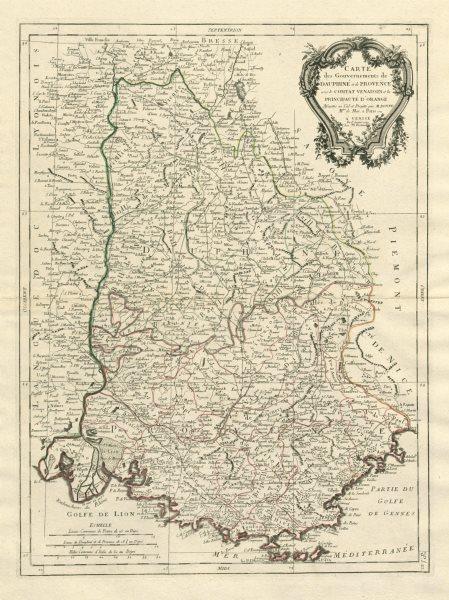 """Associate Product """"Gouvernements de Dauphiné et de Provence…"""". Dauphiny. SANTINI / BONNE 1784 map"""