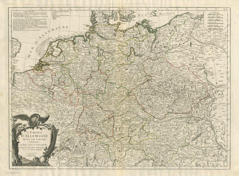 """Associate Product """"L'Empire d'Allemagne Divisé par Cercles…"""" Germany. SANTINI / JANVIER 1784 map"""