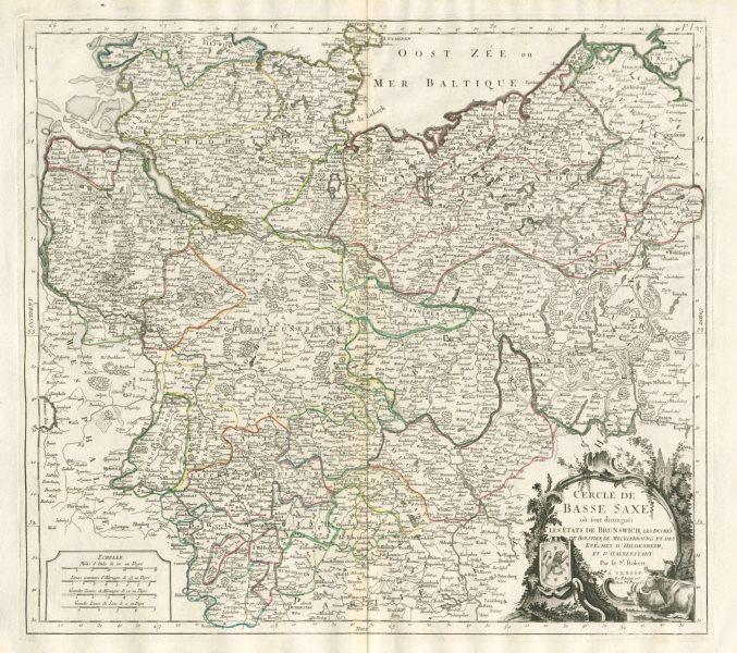 """Associate Product """"Cercle de Basse Saxe…"""" Lower Saxony Mecklenburg. SANTINI / VAUGONDY 1784 map"""