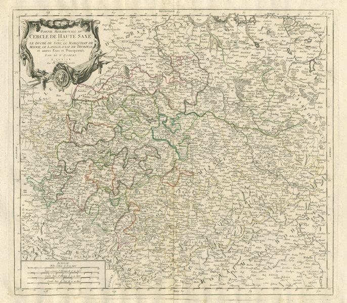 """Associate Product """"Partie Meridionale du Cercle de Haute Saxe…"""" Saxony. SANTINI/VAUGONDY 1784 map"""