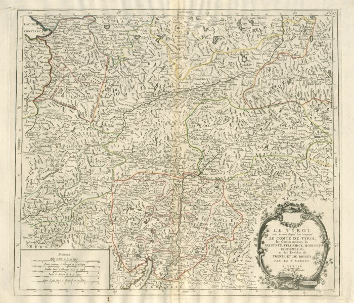 "Associate Product ""Le Tyrol sous le nom duquel…"" Tirol Trentino. SANTINI/VAUGONDY 1784 old map"