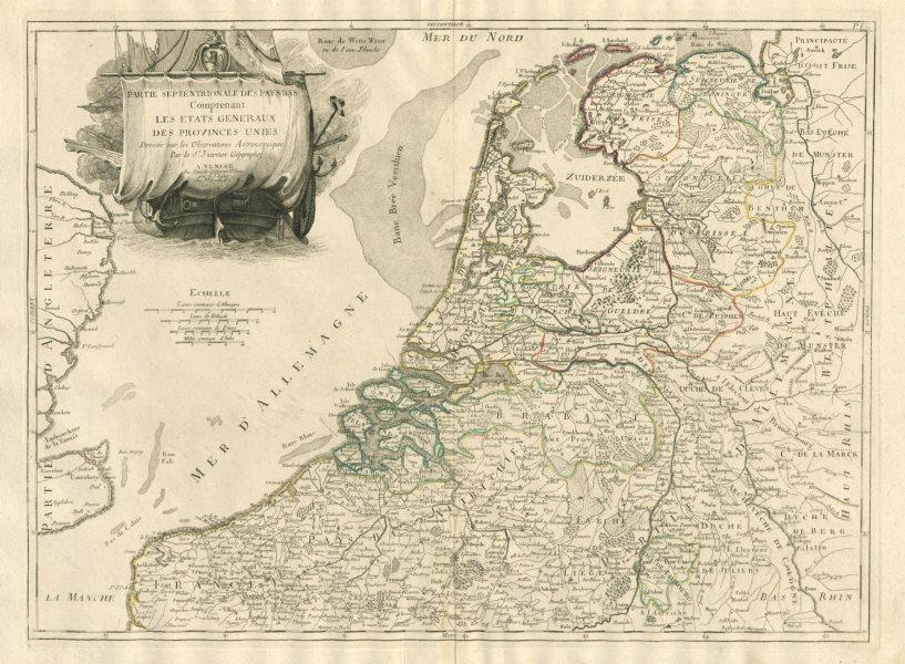 """Associate Product """"Partie Septentrionale des Pays Bas"""". Netherlands. SANTINI / JANVIER 1784 map"""