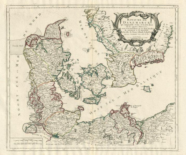 "Associate Product ""Royaume de Danemarck…"" Denmark Sweden. SANTINI / VAUGONDY 1784 old map"