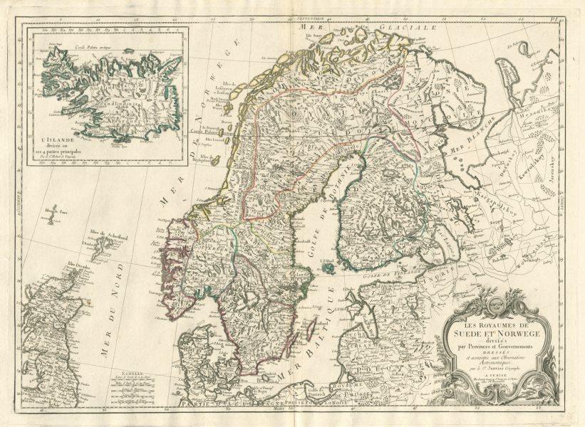 """""""Les Royaumes de Suede et Norwege…"""". Scandinavia. SANTINI / JANVIER 1784 map"""