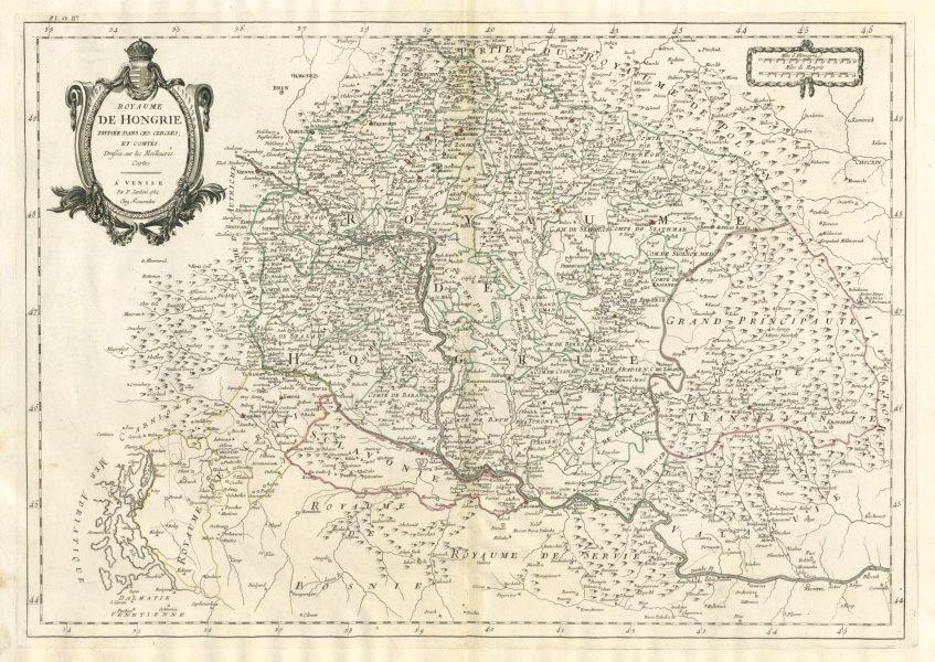 """Associate Product """"Royaume de Hongrie divisée dans ces cercles & comtés"""" Hungary. SANTINI 1784 map"""