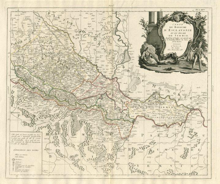 """Associate Product """"Carte du Royaume d'Esclavonie et du Duché de Syrmie…"""" Slavonia SANTINI 1784 map"""