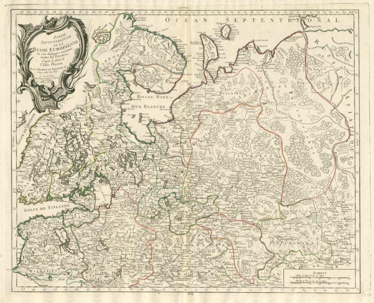 """Associate Product """"Partie Septentrionale de la Russie Européenne…"""" SANTINI / VAUGONDY 1784 map"""