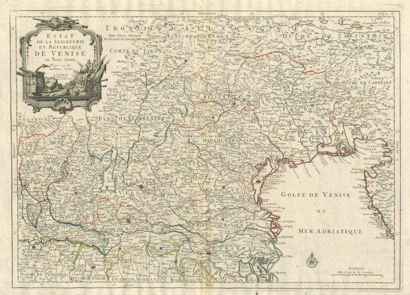 """Associate Product """"Estat de la Seigneurie et République de Venise…"""" Venice. SANTINI 1784 old map"""
