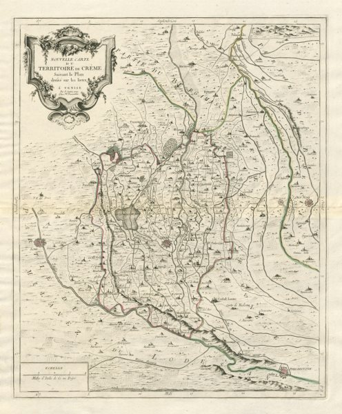 "Associate Product ""Nouvelle Carte du Territorie de Crème"". Crema Lombardy Italy. SANTINI 1784 map"