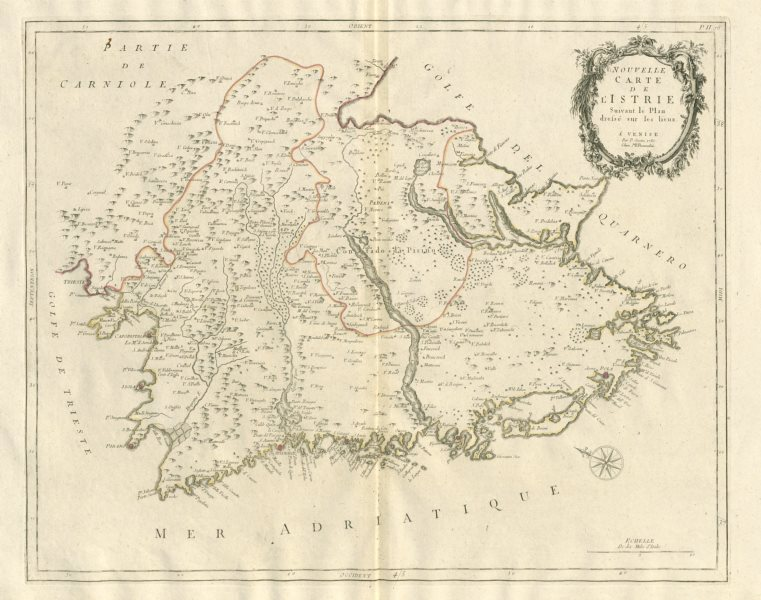 "Associate Product ""Nouvelle Carte de l'Istrie"". Istria Croatia. SANTINI 1784 old antique map"