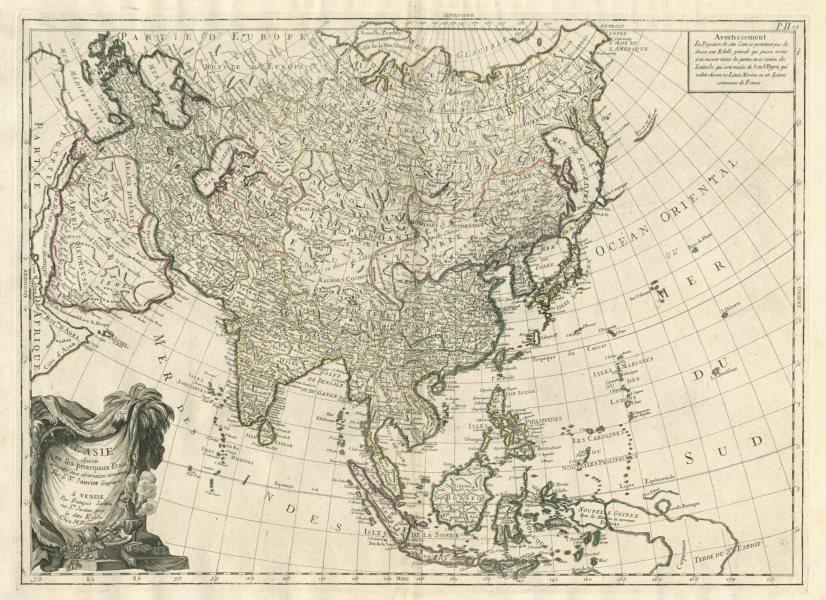 """Associate Product """"L'Asie divisée en ses principaux Etats"""". Asia. SANTINI / JANVIER 1784 old map"""