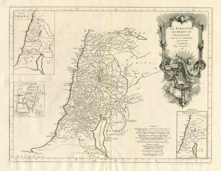 """Associate Product """"La Palestine, les Tribus, et Jerusalem"""". Israel. SANTINI / D'ANVILLE 1784 map"""