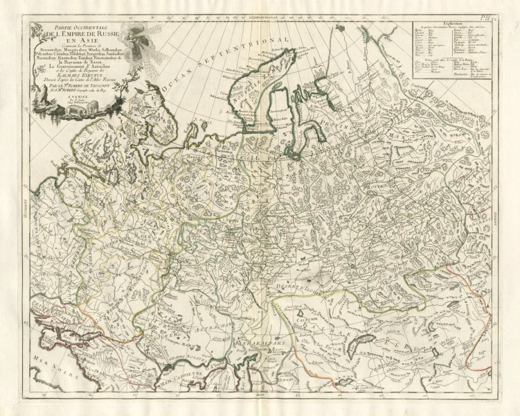 """Associate Product """"Parte Occidentale de l'Empire de Russie en Asie…"""" SANTINI/VAUGONDY 1784 map"""