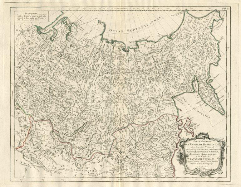 """Associate Product """"Parte Orientale de l'Empire de Russie en Asie"""" Russia SANTINI/VAUGONDY 1784 map"""