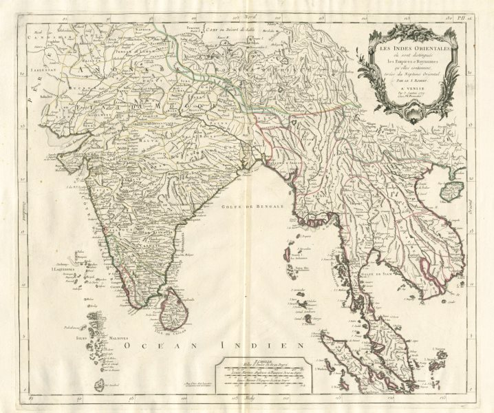 """Associate Product """"Les Indes Orientales…"""" South Asia India Indochina. SANTINI / VAUGONDY 1784 map"""