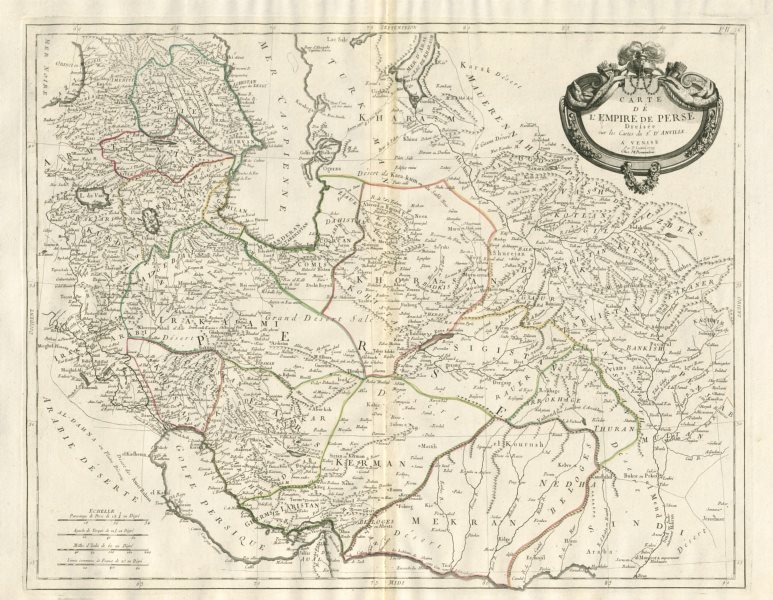 "Associate Product ""Carte de l'Empire de Perse"". Iran & Caucasus. SANTINI / D'ANVILLE 1784 map"