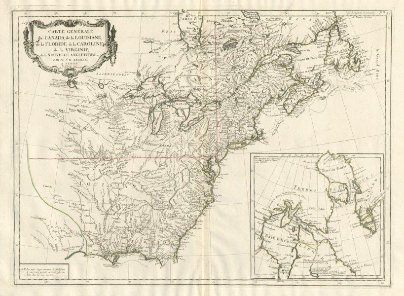 """Associate Product """"Carte Générale du Canada, de la Louisiane…"""" SANTINI / D'ANVILLE 1784 old map"""