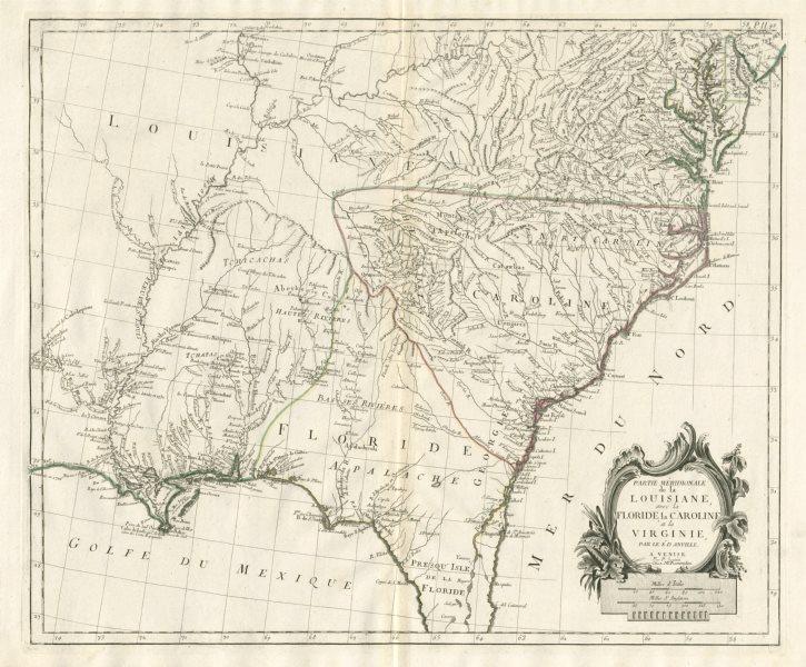 """Associate Product """"Partie Méridionale de la Louisiane…"""" Floride. SANTINI / D'ANVILLE 1784 map"""