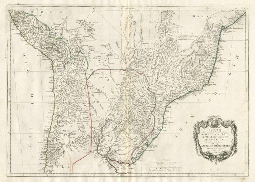 """Associate Product """"La partie méridionale du Brésil et du Perou"""".  SANTINI/D'ANVILLE 1784 old map"""