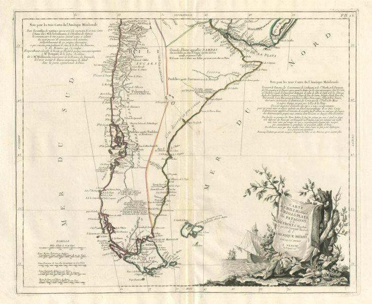 """Associate Product """"Carte de Chili Méridional, du Rio de la Plata…"""" SANTINI / D'ANVILLE 1784 map"""