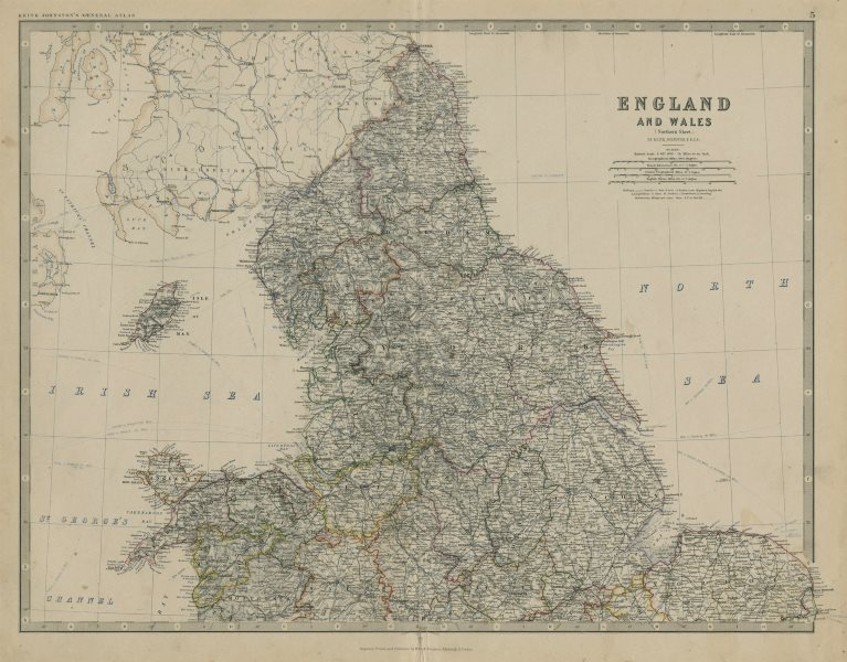 Associate Product England and Wales (Northern Sheet). UK. 50x60cm. JOHNSTON 1879 old antique map