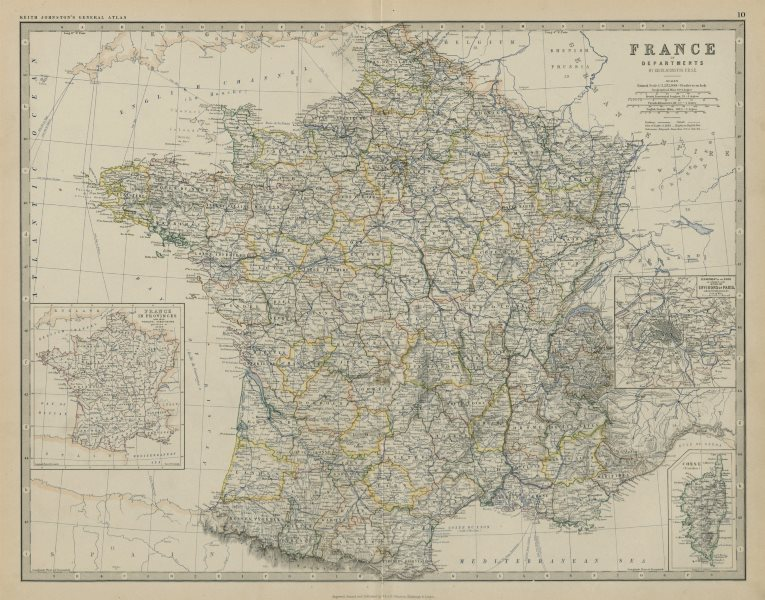 Associate Product France in Departments. Departements. Large 50x60cm. JOHNSTON 1879 old map