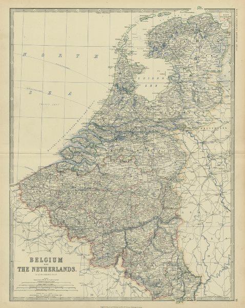 Associate Product Belgium, Netherlands & Luxembourg. Benelux. Large 50x60cm. JOHNSTON 1879 map