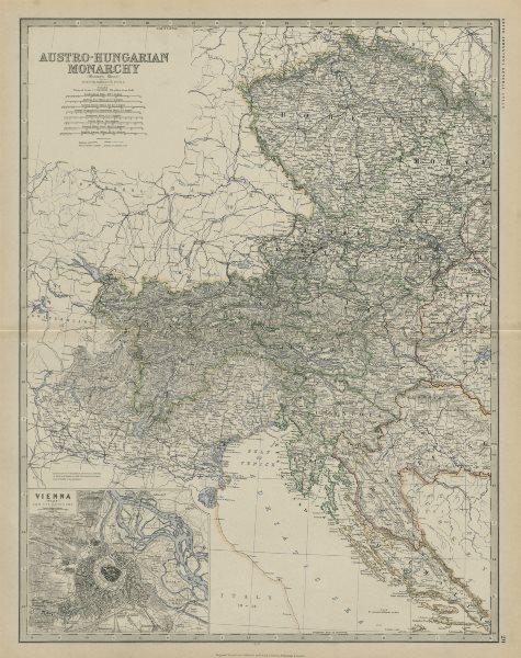 Associate Product Austro-Hungarian Monarchy (West) Vienna Austria. 50x60cm. JOHNSTON 1879 map