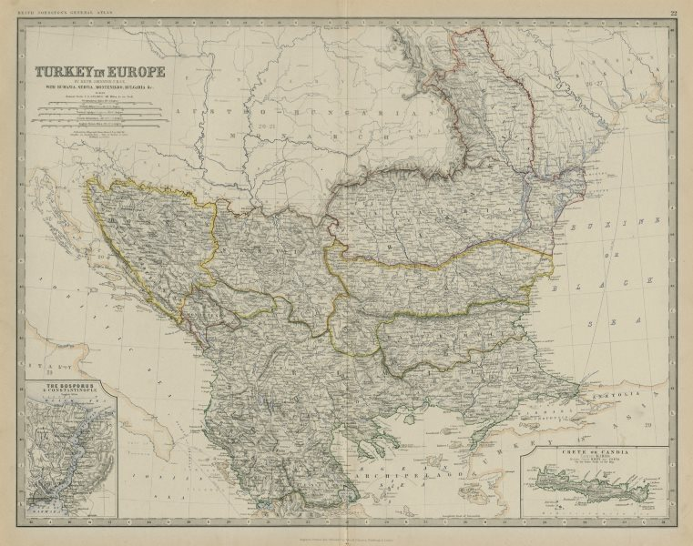 Associate Product Turkey in Europe. Balkans Bosphorus Rumania Rumelia. 50x60cm. JOHNSTON 1879 map