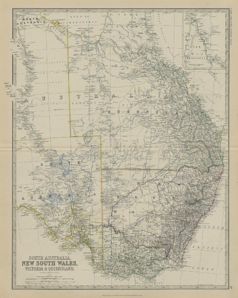 Associate Product South Australia New South Wales Victoria Queensland 50x60cm. JOHNSTON 1879 map