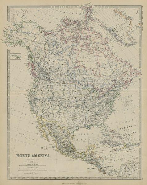 Associate Product North America. United States Danish America Greenland 50x60cm. JOHNSTON 1879 map