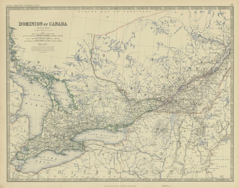 Associate Product Dominion of Canada (West). Ontario Quebec. 50x60cm. JOHNSTON 1879 old map