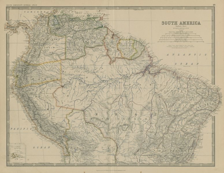 Associate Product South America (North). Brazil Colombia Peru &c. 50x60cm. JOHNSTON 1879 old map