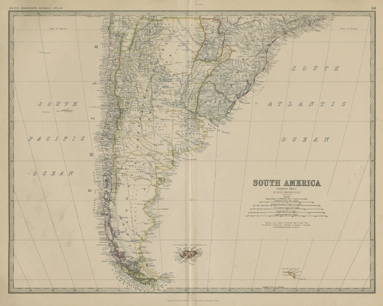 Associate Product South America (South). Argentina Chile Uruguay. 50x60cm. JOHNSTON 1879 old map