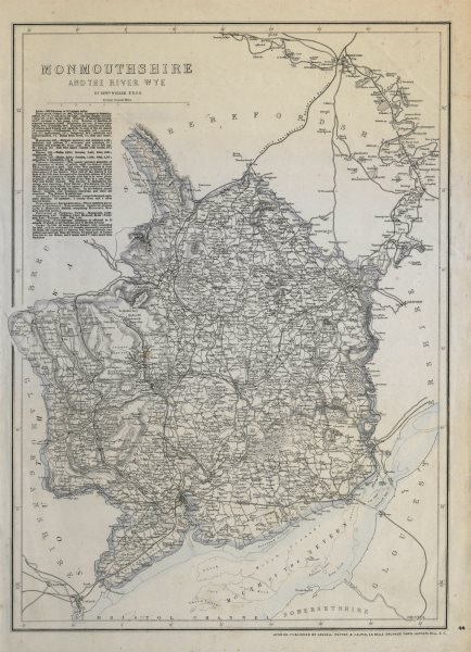 Associate Product RIVER WYE VALLEY & MONMOUTHSHIRE. Antique county map. Railways. WELLER c1865