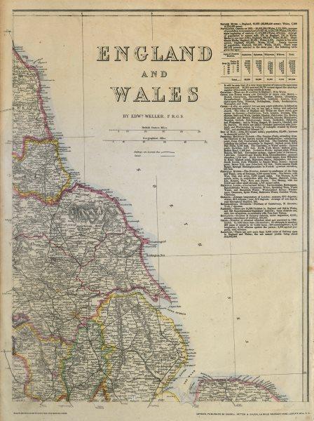 Associate Product ENGLAND NORTH EAST COAST Lincs Yorks Durham Northumbs. >Berwick WELLER c1863 map