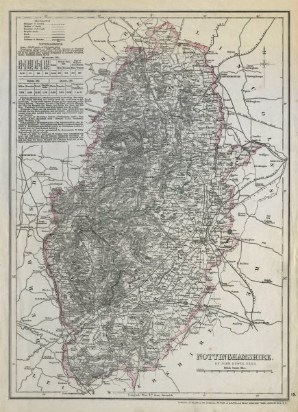 Associate Product NOTTINGHAMSHIRE. Antique county map. Railways Dukeries. DOWER c1865 old