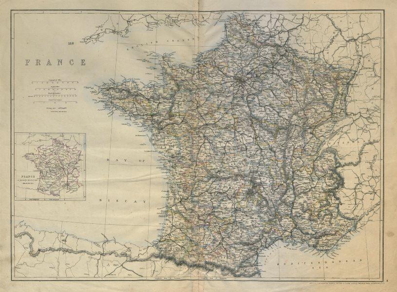 FRANCE in departements. Railways complete/under construction. JW LOWRY c1863 map