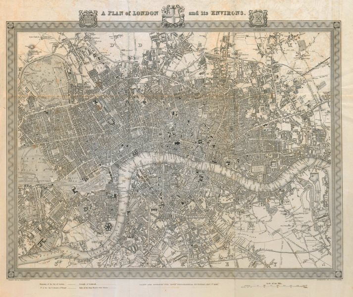 """Associate Product """"A plan of London and its environs"""" by CREIGHTON & WALKER for LEWIS 1840 map"""