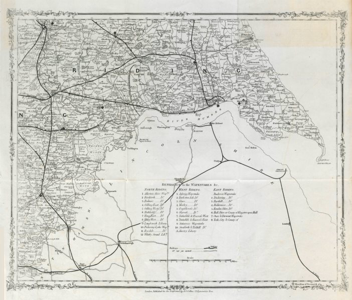 Yorkshire/Humber railway map. York Beverley Hull Doncaster Selby. COLLINS c1850