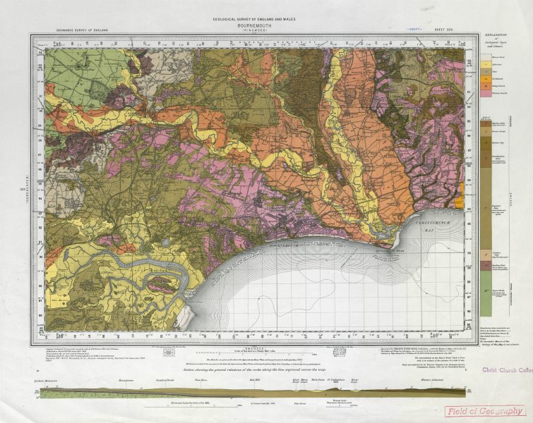 Associate Product Bournemouth geological survey sheet 329 Dorset Poole Christchurch 1962 old map