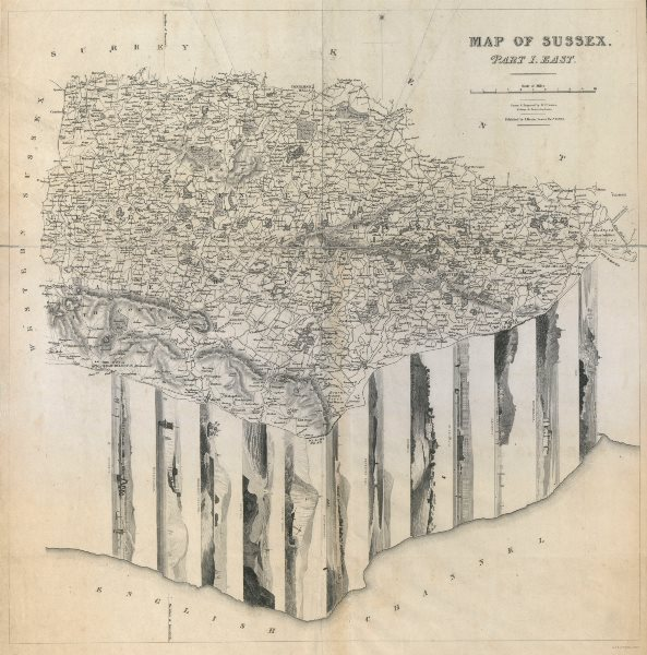 Associate Product East Sussex antique county map w/ coastal/town panorama vignettes BR DAVIES 1834