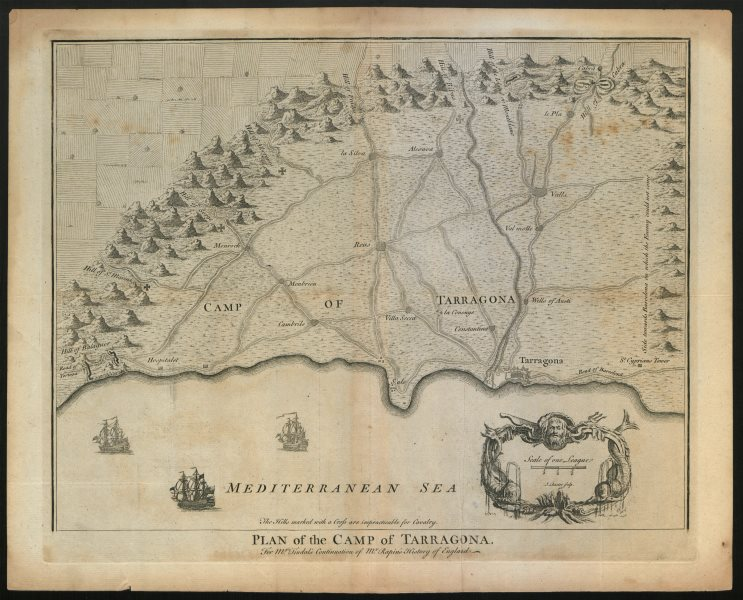"""Associate Product """"Plan of the Camp of Tarragona"""", by BASIRE. Catalonia Catalunya c1747 old map"""