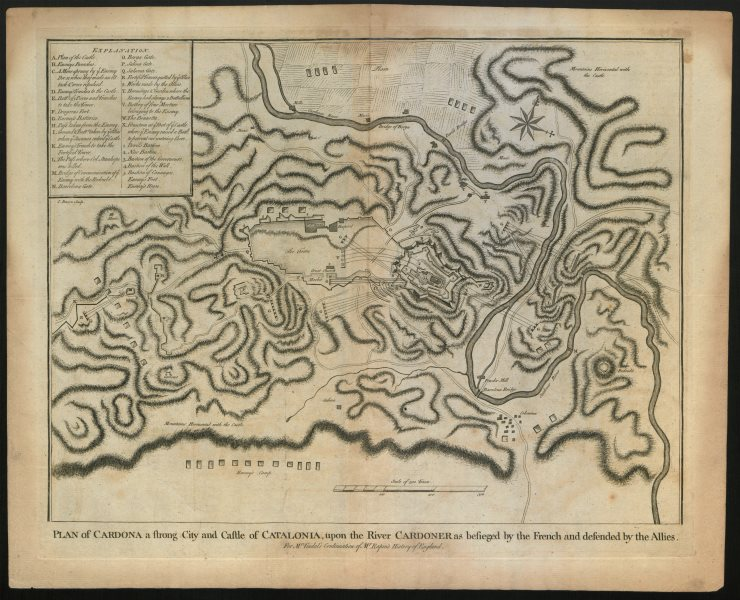 """Associate Product """"Plan of Cardona"""", during 1714 siege. Catalonia. BASIRE c1747 old antique map"""