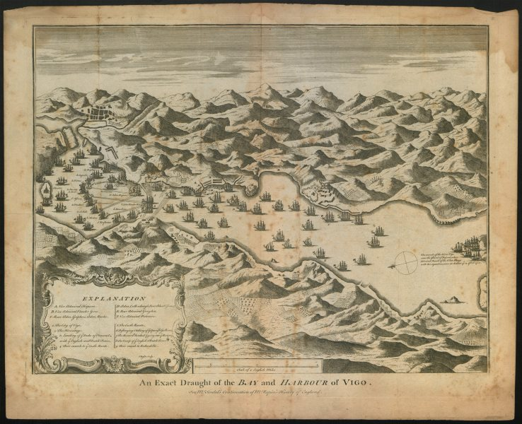 """Associate Product """"An exact draught of the Bay & Harbour of Vigo"""". 1702 Battle. BASIRE c1747 map"""