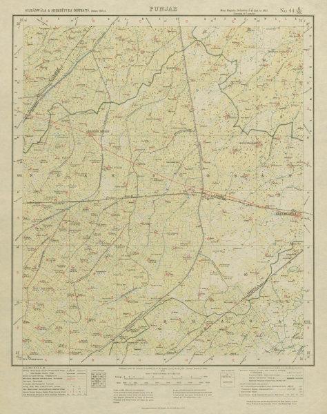 Associate Product SURVEY OF INDIA 44 E/NE Pakistan Punjab Shekhupura Kangah Dogran 1921 old map