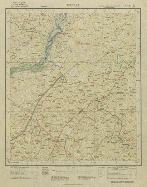 Associate Product SURVEY OF INDIA 44 E/NW Pakistan Punjab Faisalabad Chiniot Shahkot 1921 map