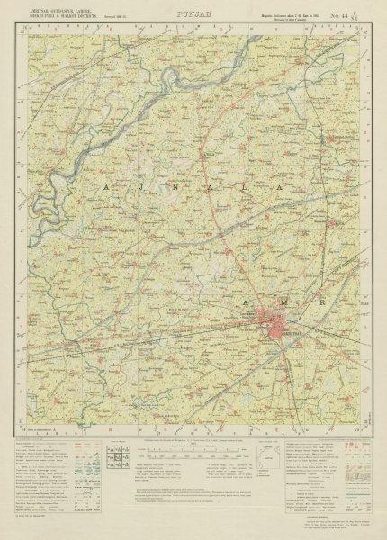 Associate Product SURVEY OF INDIA 44 I/NE Punjab Amritsar Attari Ajnala Fategarh Majitha 1934 map