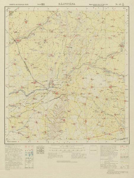 Associate Product SURVEY OF INDIA 45 F/SE Rajasthan Bilara Jaitaran Piparcity Khejarla 1933 map